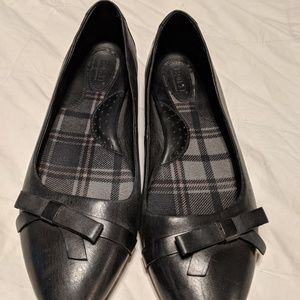 Born black leather dress flats with bow